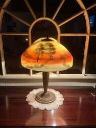 Lamp, Antique Reverse Painted Pittsburgh Unsigned