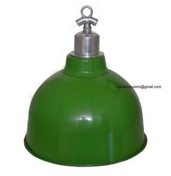 Vintage Industrial Enamel Factory Ceiling Dome Lamp With Ceiling Holder Lot Of 3