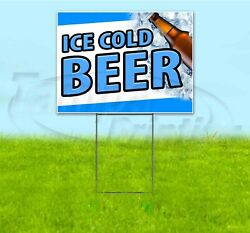 Ice Cold Beer 18x24 Yard Sign With Stake Corrugated Bandit Usa Business Alcohol