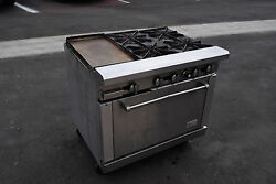 Rr-4-g12 Range 36 Royal 4 Burner Stove Gas Commerical Oven Griddle Restaurant