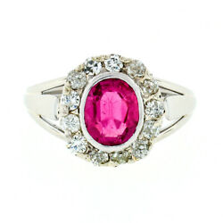 Antique Victorian 14k Gold Vibrant Oval Red Stone And Mine Cut Diamond Halo Ring