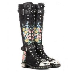 Womens Floral Lace Up Buckle Metal Toe Knee High Boots Block Heel Casual Shoes