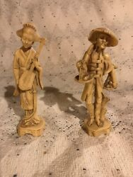 Vintage White Oriental Statues -japanese Asian Made In Italy 3 And 5