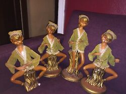 4 Rare Tall Vintage Christmas 1960s Pixie Elves Statues No Musical Instruments