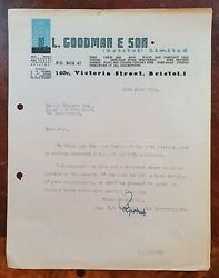 1954 H. L. Goodman And Son, Wire And Fencing, 140 Victoria Street, Bristol Letter