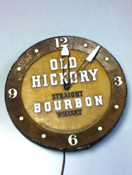 Old Hickory Bourbon Whiskey Wall Clock Vintage Chalkware Chalk Whisky Bar Old 1