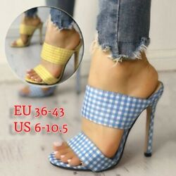 Women Heels Sandals High Heel Summer Mule Casual Open Toe Stiletto Dress Shoes