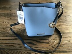 Michael Kors Kimberly Small bucket Leather Crossbody Bag Pale Blue NWT $ $144.95