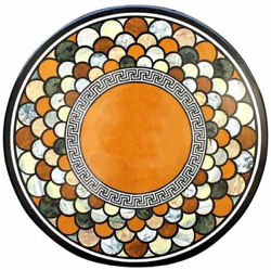42 Round Black Marble Coffee Center Table Top Marquetry Inlay Work Home Decor