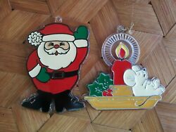 Vintage Hallmark Christmas Trimmers Ornaments X2 Santa & Mouse on Candle 1981