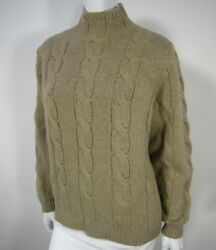 Brunello Cucinelli Cashmere Italy Long Sleeve Cabled Sweater Brown Camel 009