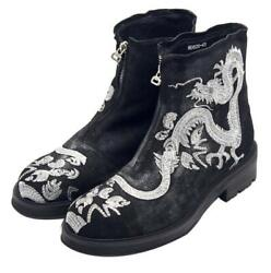 Chinese Fashion Men Embroidery Dragon Party Real Leather Ankle Boot Shoes Runway