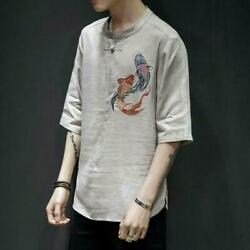 Chinese Style Mens Summer Tops Short Sleeve Linen Blend Pullover Youth T-shirt