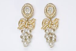 Valentino Garavani Couture 1980's Long Gold Plated Crystal Pearl Bow Earrings