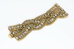 Vintage French 1980's Wide Woven Gold Plated Crystal Chain Bracelet