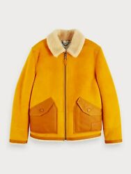 Scotch And Soda Sheep Suede Shearling Jacket In Sunflower Yellow Size M No Hat