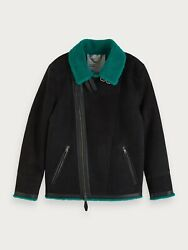 Scotch And Soda Sheep Suede Shearling Biker Jacket In Dark Navy Size L No Hat