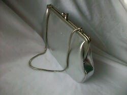 Lady Evening Bag Silver Clutch Small Handbag Purse Clasp Chain Strap VTG Germany $19.99