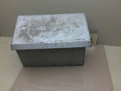 Antique Tractor Metal Tool Box With Lid - Vintage