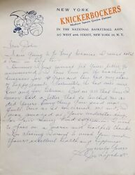 2 Vintage New York Knicks Letters Signed By Joe Lapchick And 1 Initialed Envelope