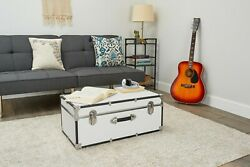 Wooden Chest Trunk Large Storage Toy Blanket Box Vintage Coffee Table White