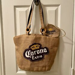Corona Extra Beer Burlap Shoulder Beach Bag Lined W/ Attached Coin Purse