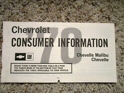1970 Chevelle Ss Ls6 Factory Gm Original Owners Consumer Brochure 1-70 Print