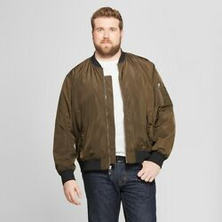 Menand039s Big And Tall Matte Bomber Jacket - Goodfellow And Co - Olive Green - 2xb