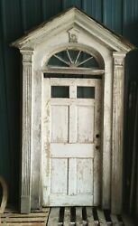 Complete Antique Entry Way Surround 2 Pane Door 5 Lite Arched Transom 411-19e