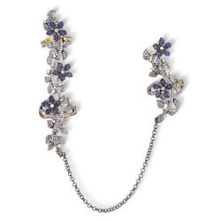 Studded Diamond Blue Sapphire 925 Silver Chain Connector Flower Two Finger Ring