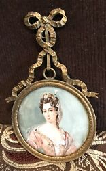 Antique Vintage 18/19c Queen Mary 2nd, Miniature Portrait Painting Signed Roili