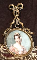 Antique Vintage 18/19c Queen Mary 2nd Miniature Portrait Painting Signed Roili