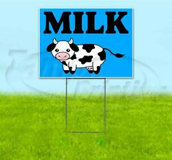 Milk 18x24 Yard Sign With Stake Corrugated Bandit Usa Business Dairy