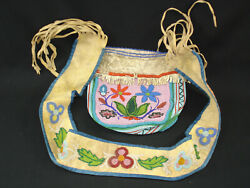 An Early, American Indian Cree Hide, Colorful Beaded Bag, Circa 1900