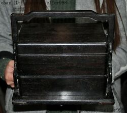 10 Old Chinese Rosewood Wood Carved Portable Food Box Meal Lunch Boxes Statue