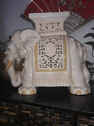 Vintage Chinese Elephant Ceramic Plant Stand/stool/end Table Hand Painted