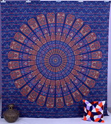Indian Mandala Tapestry Blue Bedspread Decor Cotton Bohemian Queen Wall Hanging