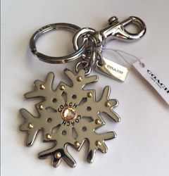 NWT GIFT BOXED Coach Silver Snowflake Keychain Fob Bag Charm $80 35130 LIMITED