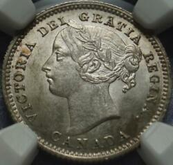 1885 Canada Victoria 10andcent Graded Ngc Ms62 Very Rare In Brilliant Uncirculated