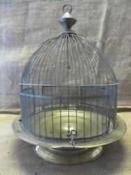 Vintage Brass Bird Cage W Swing Old Antique Shabby Bath Birds Cages 6028