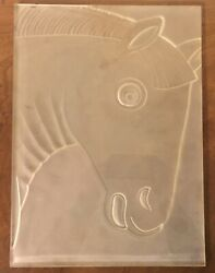 Art Deco Glass Pane Relief Molded And Frosted Etched Horse Lalique Verlys Style