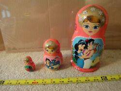 Handcrafted Disney Aladdin, Wooden Russian Nesting Dolls. Hand Painted Figures.