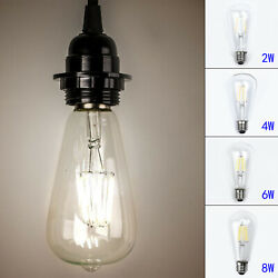 Vintage Edison E27 2w/4w/6w/8w Screw Led Filament Light Bulb St64 Globe Lamps