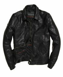 Superdry Premium Indiana Leather Jacket Black Size 2xl 44 112cm Rrp Andpound449.99
