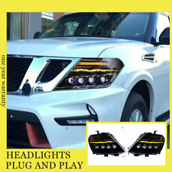 For Nissan Armada Headlights Double Xenon Beam Hid Projector Led Drl 2012-2019
