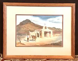 Antique Vintage Ruth Lotan 1917-71western Watercolor Painting Drawing Framed Old