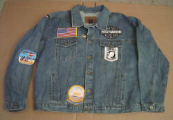 Arizona Denim Jean Jacket Size X-large With Harley Davidson Patches 13 Patches