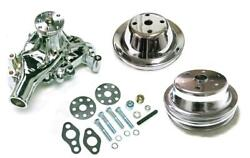 Small Block Chevy Chrome Long Water Pump And 1 / 2 Groove Crankshaft Pulleys Kit