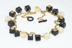 Karl Lagerfeld Paris 1990andrsquos Black White Resin Dice Infinity Chain Logo Necklace