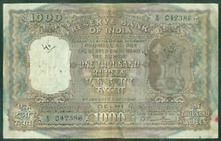 India 1000 Rupees 1949-57. New Delhi Rama Rau Sign 72 P. 46c Large Size 042386